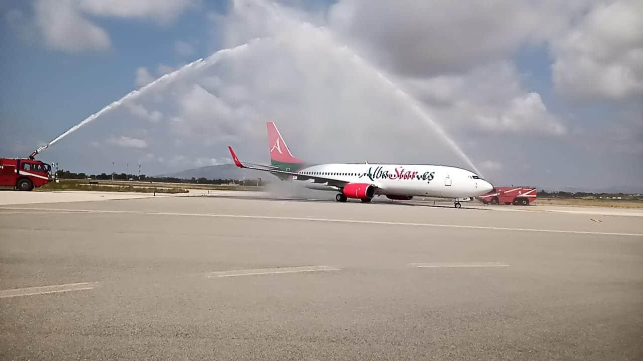 """Arriva il primo volo Albastar e a Birgi c'è il """"cannone di a"""